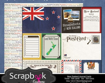 New Zealand Journal Cards. Digital Scrapbooking. Project Life. Instant Download.