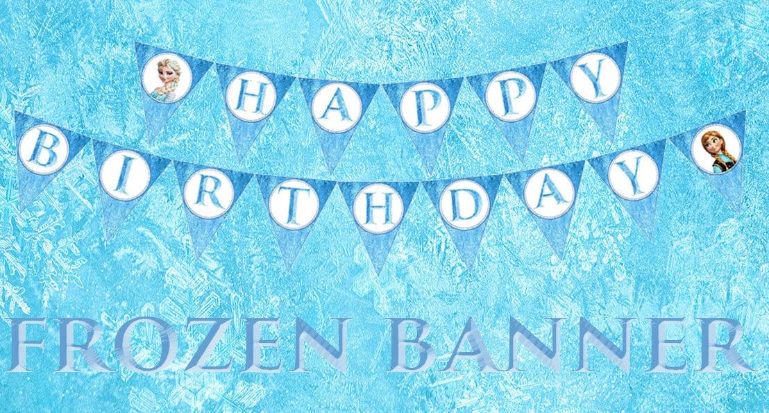 Free Frozen Printable Banner Disney frozen birthday party