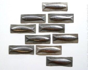 Metal art, Set, 10 Sardines, Nautical Sculpture, Fish, Wall sculpture, Fish tiles, Aluminum, Backsplash, Bathroom, Home decor, Cosé Manzano