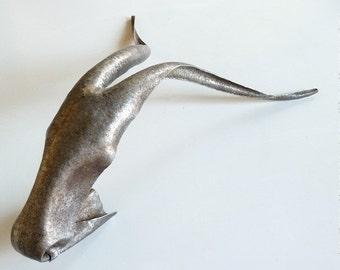 Contemporary art, Metal sculpture, Goat, Made to order, Hand hammered metal sculpture, Metal art, Animal sculpture, Slim goats head, O O A K