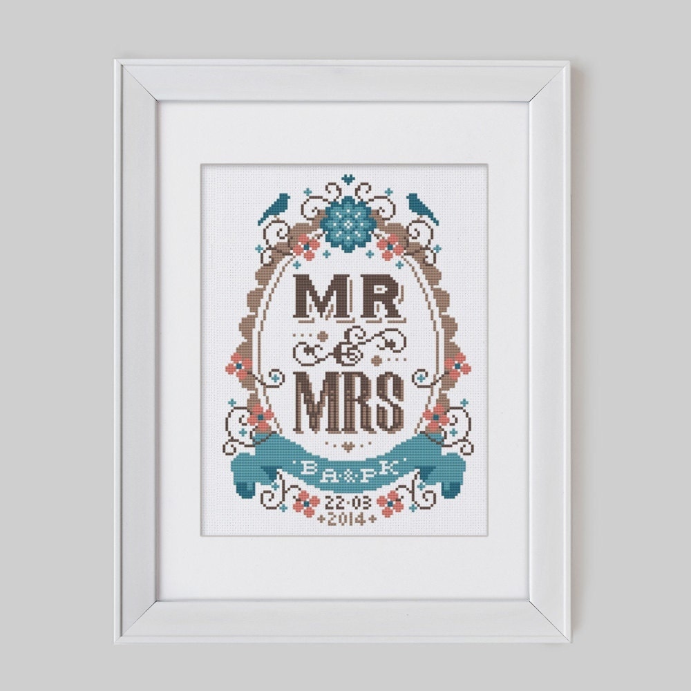 mr mrs customisable wedding cross stitch pattern by stitchrovia
