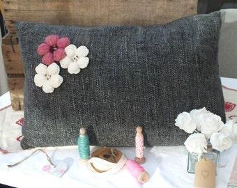 Hand Made Flecked Flower Cushion