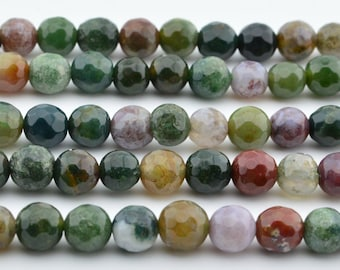 "15.5""  6MM  Natural Indian Agate  Faceted Round Gemstone Beads"
