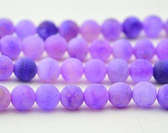 "15"" 8mm Purple   Frost  Fire Agate Round Beads Onyx"