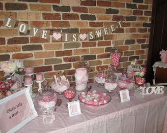 LOVE IS SWEET Banner - Pink and White