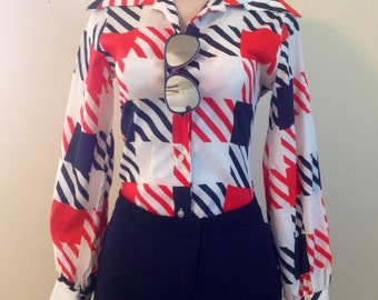 Sears Roebuck Red White Blue Blouse