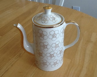 White and Gold Teapot, Vintage