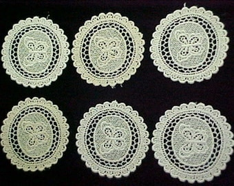 Vintage Ivory Cotton  Medallions, 6 in lot, store stock, never used