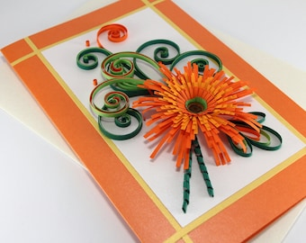 """Mom Birthday Quilling Card - Paper Handmade Greeting Card - Quilled Orange Gerbera - 5""""x8"""""""