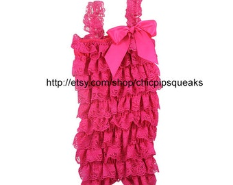 Baby, Toddler and Girls Dark Pink Lace Petti Romper with Dark Pink Shabby Embellishment