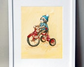Sock Monkey Art, Nursery Art, Nursery Decor-   Sock monkey on a tricycle: hand signed art print - JennyDaleDesigns