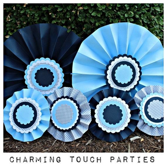 boy baby shower decorative rosettes set of 6 navy blue grey light blue baby boy party. Black Bedroom Furniture Sets. Home Design Ideas