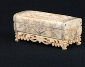Antique Hand Carved Bone Cricket Box Heavy carving with Double Dragons