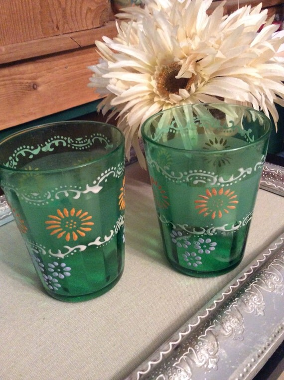 Green Depression Glass Hand Painted Juice Glasses Set Of A Two