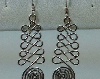 Sterling silver swirl design dangle earrings