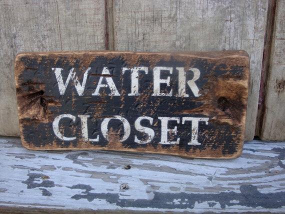 Rustic Distressed Water Closet Wood Bathroom Door Sign Sp