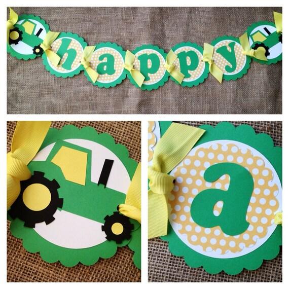 Tractor birthday banner, John Deere birthday banner, Tractor Birthday ...
