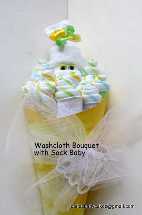 Baby washcloth bouquet new mom gift washcloth floral like this item negle Choice Image
