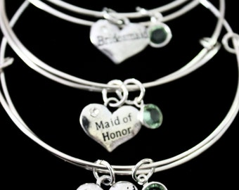 Bridesmaid / Maid of honor / flower girl wedding Charm Swarovski crystal or pearl on a Silver Plated adjustable Bangle