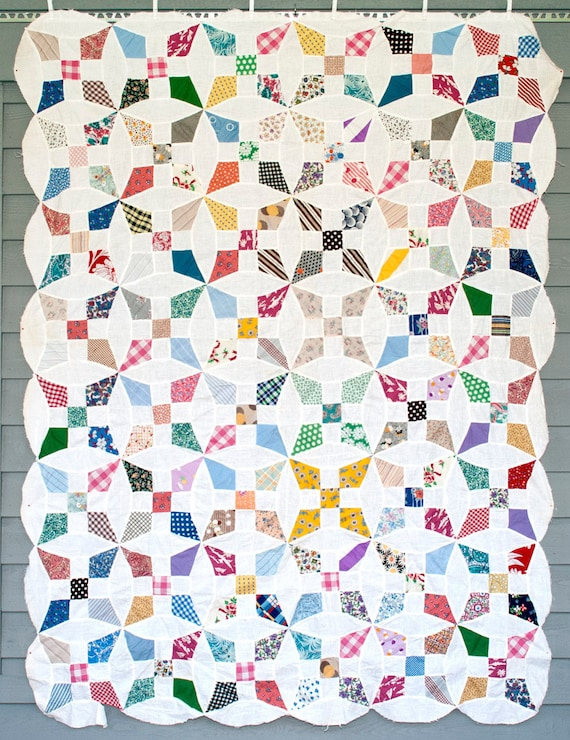 Vintage quilt top 1930 s 1940 s improved 9 patch scrappy quilt top