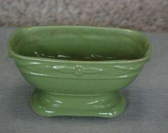 Green pottery planter