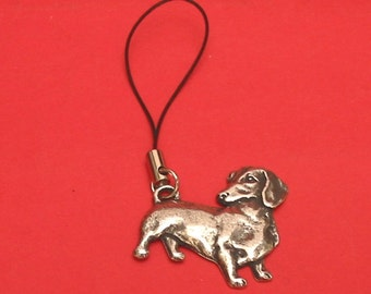 Dachshund Pewter Motif Mobile Phone Charm Vet Mother Father Dachshund Gift