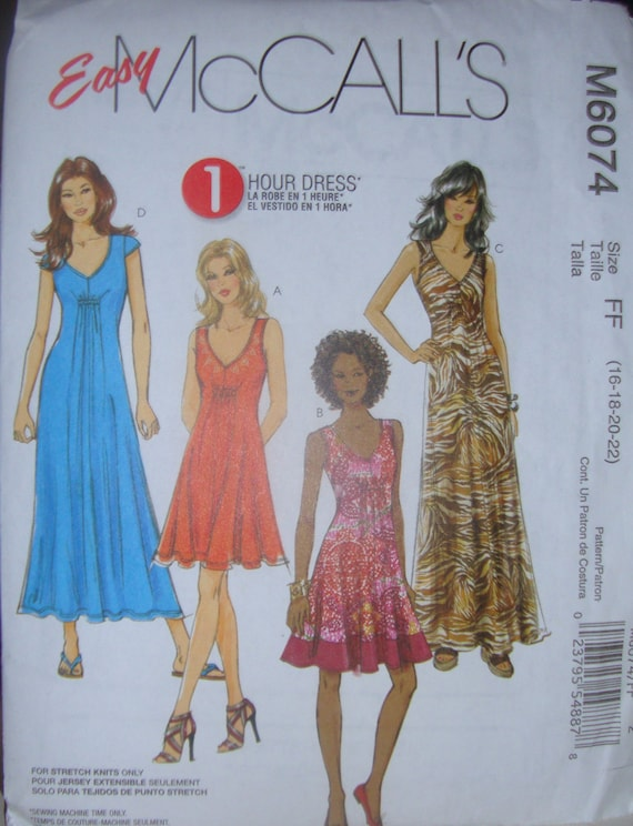 Simple Knit Dress Pattern : McCalls 6074Womens Easy Knit Dress Pattern Sizes 16-22