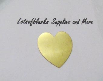1 1/2 Brass Heart Blanks  - Tumble heart blanks - Easy to stamp on -Premium Brass blanks -  Hand stamping metal Blanks -5  or more