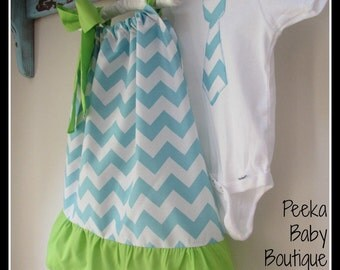 Matching Sibling Outfit Set in Blue Chevron (with green ruffle and straps)