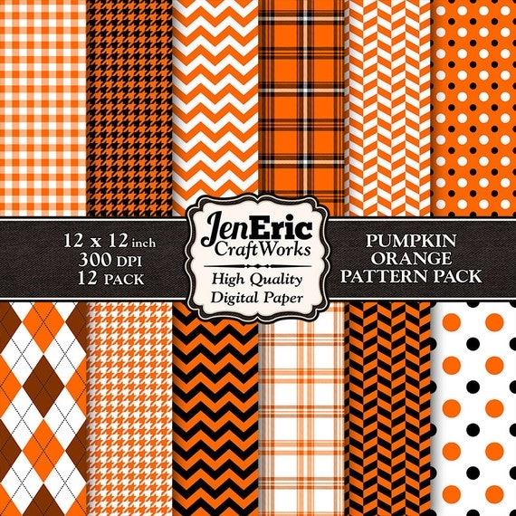 Orange digital paper halloween patterns