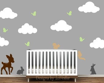 Nursery Decal Forest Animals and Clouds Wall Mural