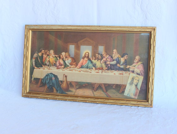 sale the last supper framed picture lithograph wall art. Black Bedroom Furniture Sets. Home Design Ideas