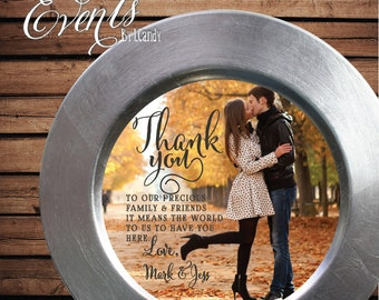 Printed Thank you photo Insert that fits on a Plate or Charger