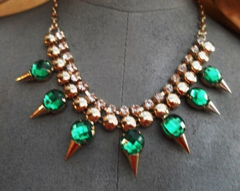 steampunk punk victorian style vintage gold plated jewelled diamante link necklace