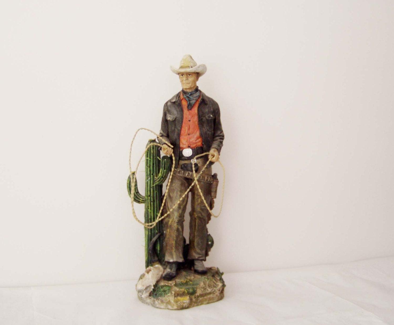 Vintage cowboy figurine vintage resin sculpture of cowboy