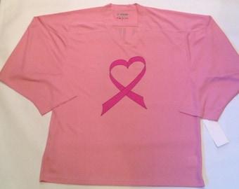 Breast Cancer Awareness Pink Hockey Jersey Shirt SURVIVOR, BELIEVE or CUSTOM