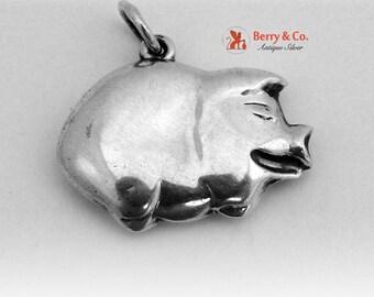 Vintage Pig Pendant Sterling Silver