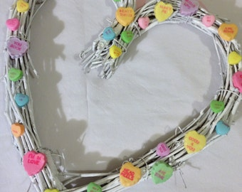 Heart-Shaped Valentine Wreath w/ Candy Hearts