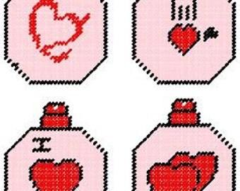 Heart Plastic Canvas Ornament Set Pattern
