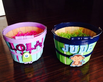 2 Personalized Painted Easter Baskets