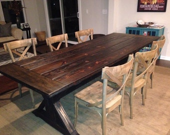 Carroll Dining Table Trestle Urn Farmhouse Reclaimed Wood