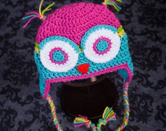 Whoooo's Cute??? ME!  Adorable Bright Owl hat - Keep your cutie warm.  Winter Owl Hat