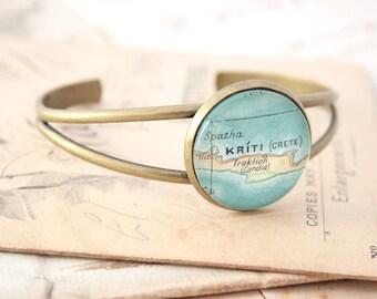 Open Bangle Bracelet Custom Map Jewelry Personalized Bangle Bracelet in Antique Bronze Color Map Bracelet Boho Cuff Love the City Cuff