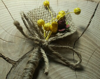 Set of 6 Rustic Boutonniere ,Groom and groomsmen boutonniere,  Natural Eco Wedding Boutonniere