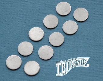 10 pieces Fine Silver Disc 20 gauge x 1/2 inch
