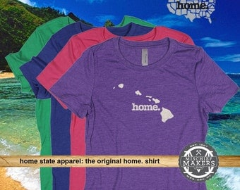 Hawai'i Home. T-shirt- Womens Red Green Royal Pink Purple