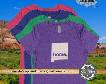 New Mexico Home. T-shirt- Womens Red Green Royal Pink Purple