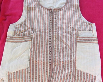 Vintage Pink and Cream Stripe Satin Waistcoat with Small Buttons and Pockets with a Cream cotton back, circa 1960's.