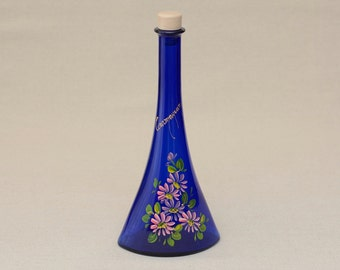 Vintage Cobalt Blue Glass Botlle with Hand Painted Flower Decor with Lid