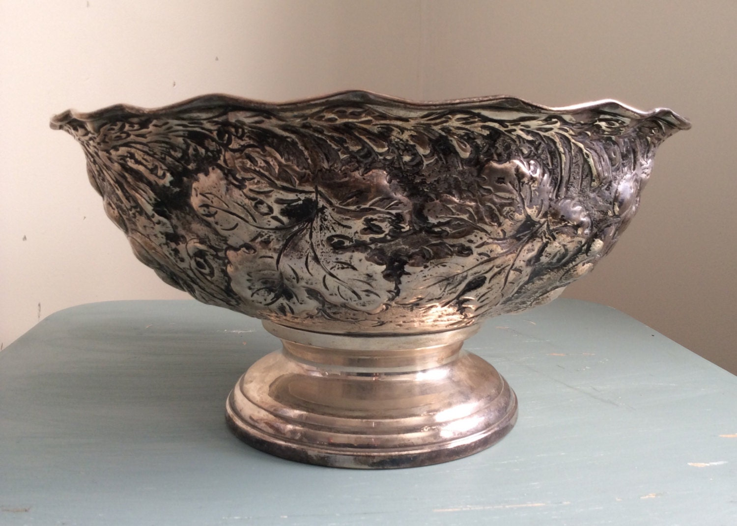 Antique Silver Punch Bowl Wedding Decor Table Settings
